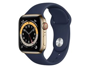 Apple Watch Series 6, Cellular, 40 mm, Edelstahl gold, Sportband dunkelmarine