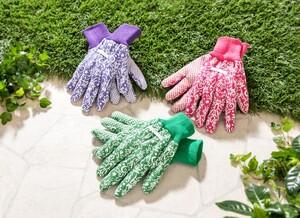 """Powertec Garden Gartenhandschuhe """"Carla"""", Größe S - Ornament Grün/Lila/Pink, 3er-Pack"""