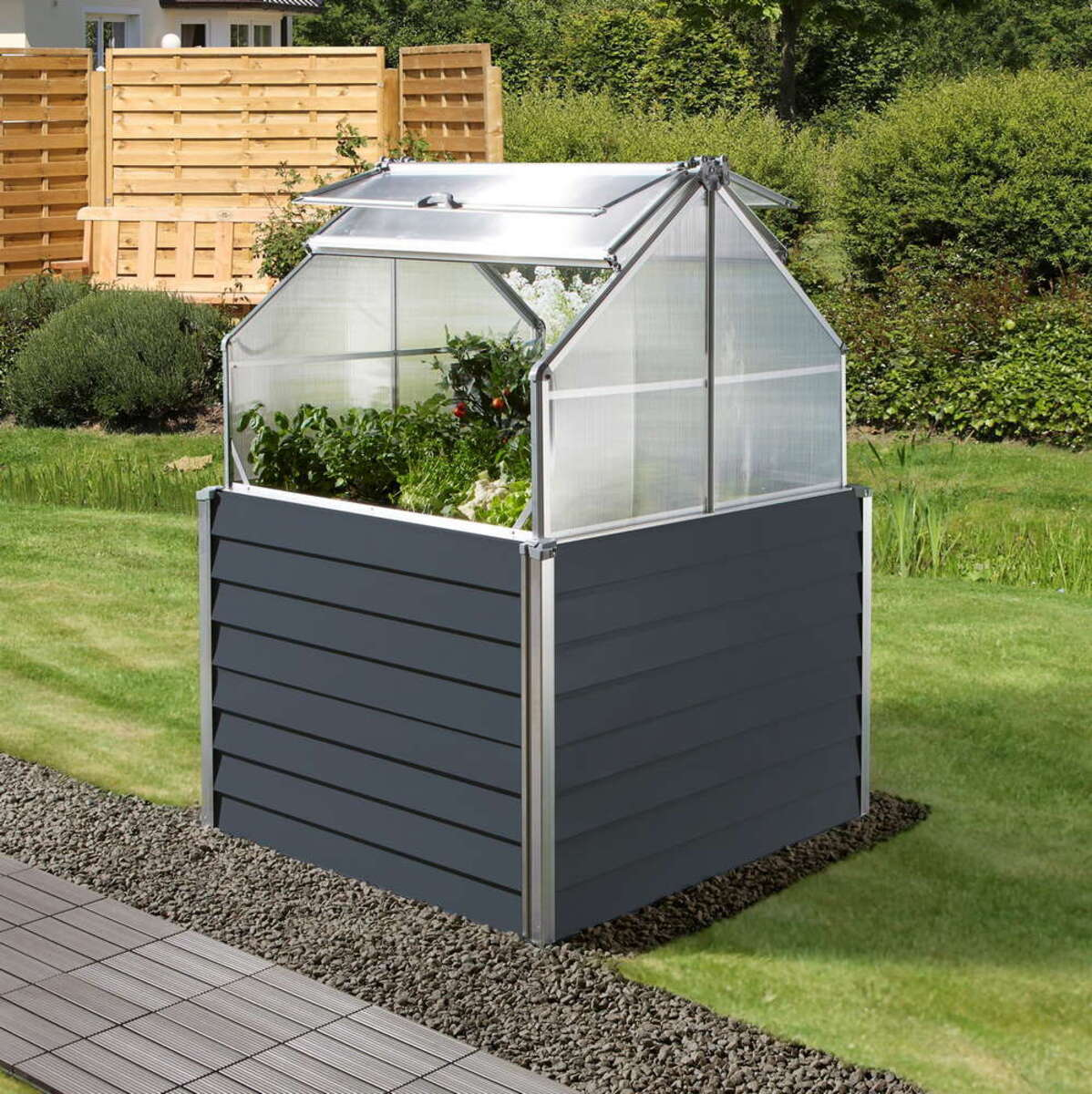 Bild 2 von Powertec Garden Doppeltes Balkon-/Garten-Hochbeet - Anthrazit