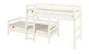 FLEXA Mittelhohes Kombibett mit Leiter  Flexa Classic - weiß - Kindermöbel