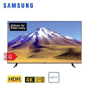 GU43TU6979 • 2 x HDMI, USB, CI+ • integr. Kabel-, Sat- und DVB-T2-Receiver • Maße: H 55,8 x B 96,3 x T 5,9 cm • Energie-Effizienz G (Spektrum A bis G) nach neuer Richtlinie Bildschirmdi