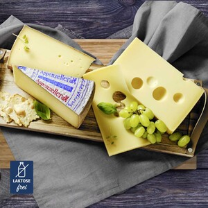 Schweizer Emmentaler AOP Das Original Hartkäse aus Rohmilch, 4 Monate gereift, 45 % Fett i.Tr., oder Appenzeller® Mild-Würzig Hartkäse aus Rohmilch, 3 Monate gereift, 48 % Fett i. Tr., je 100 g