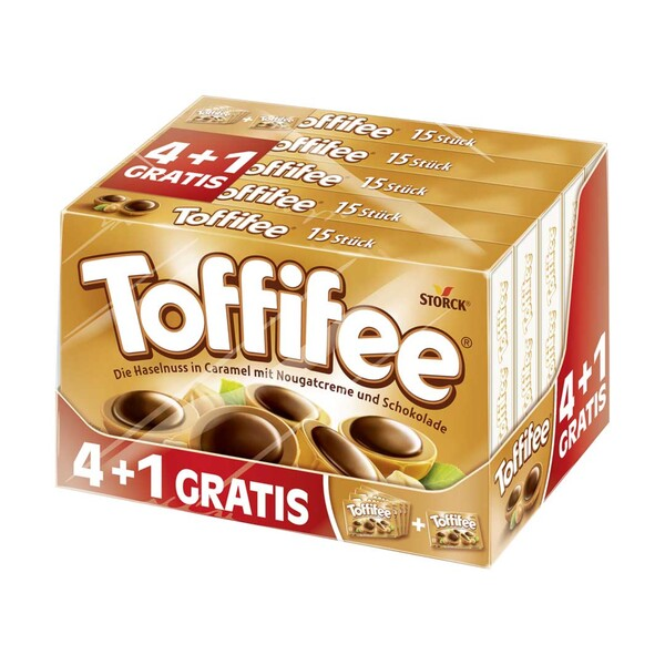 Toffifee 4 + 1 Packung gratis, jede 625-g-Packung