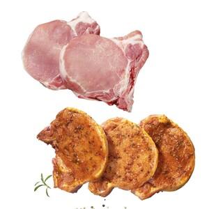 Frische Schweinestielkoteletts oder Filetkoteletts in Scheiben geschnitten, natur oder gewürzt, je 1 kg