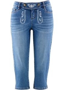 Trachten-Jeans mit Stickerei, 3/4-Länge