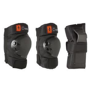 OXELO Protektoren Schoner Schützer 3er-Set Basic Kinder schwarz, Größe: 2XS