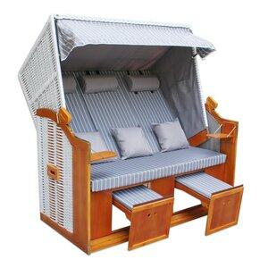 3-Sitzer Strandkorb - hellgrau-weiß - massiv - 160x165 cm