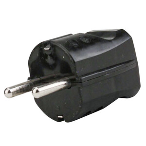 Schutzkontakt Stecker Kunststoff, IP20, schwarz