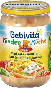 Bebivita Kinder Küche Menü Mini-Makkaroni mit buntem Rahmgemüse