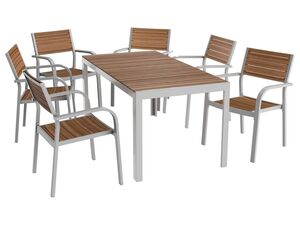 FLORABEST® Alu/Holz-Set »Buenos Aires«, 7-teilig - Standardtisch und 6 Stapelstühle