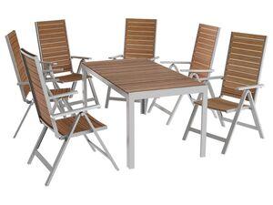 FLORABEST® Alu/Holz-Set »Buenos Aires«, 7-teilig - Standardtisch und 6 Hochlehner