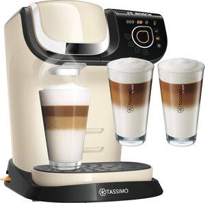 TASSIMO Kapselmaschine MY WAY 2 WTAS6507, Kaffeemaschine by Bosch, creme, mit Wasserfilter, über 70 Getränke, Personalisierung, inkl. TASSIMO Latte-Macchiato-Glas »by WMF, 2er Pack« im Wert von 9