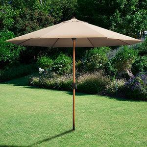 Alu-Sonnenschirm mit Kurbel in Holzoptik1