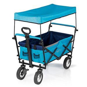 MAXXMEE Bollerwagen faltbar blau mit Dach & Reflektorstreifen