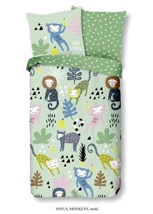 Wende-Kinderbettwäsche Monkeys aus Baumwolle