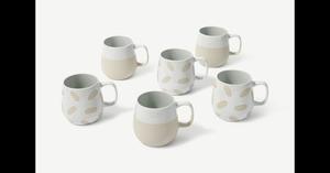 Veeka 6 x Tassen, Natur und Weiss - MADE.com