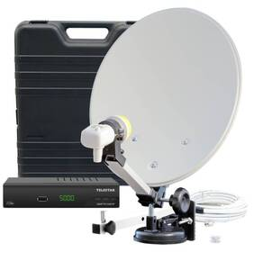 Campingkoffer mit digitalem SAT HD Receiver und Single LNB
