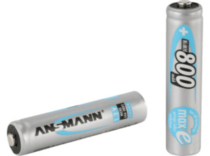 ANSMANN 5030982 NiMH Akku Micro AAA 800mAh maxE Batterie (wiederaufladbar), Ni-MH, 1.2 Volt, 800 mAh 2 Stück