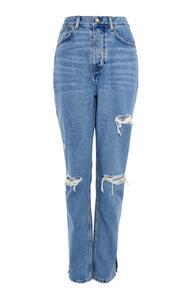 Blaue Dad-Jeans im Used-Look