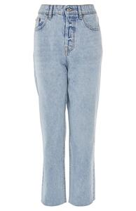 Hellblaue High-Waist-Jeans mit geradem Bein
