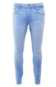 Blaue, ausgebleichte Skinny Jeans im Used-Look