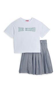 Karierter Faltenrock und T-Shirt im Set (Teeny Girls)
