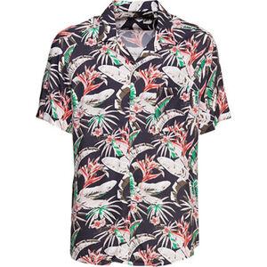 MANGUUN Freizeithemd, Allover-Floral-Print, Brusttasche, für Herren