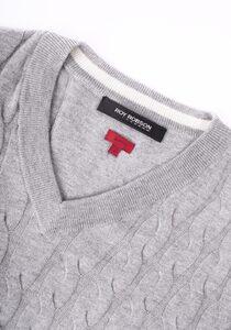 Roy Robson V-Ausschnitt-Pullover mit Zopfmuster