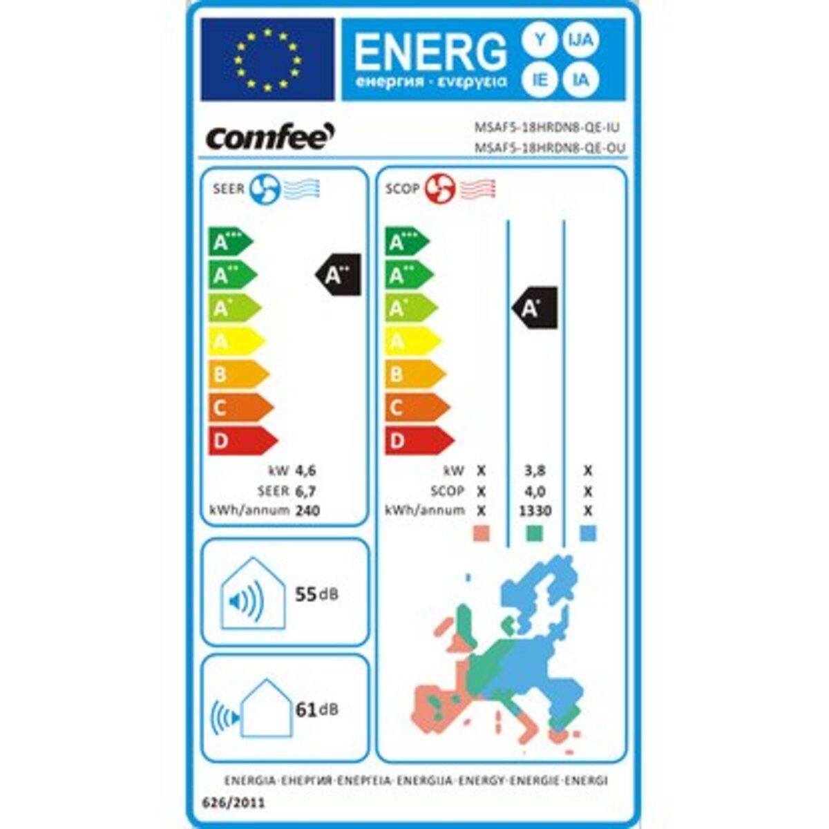 Bild 2 von Comfee Split-Klimagerät 4,6 kW 16.000 BTU EEK: A++