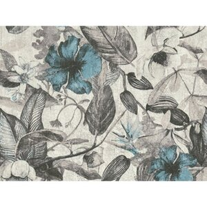 A.S. Création Vliestapete Greenery Blüten Grau-Blau