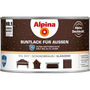 Alpina Buntlack für Aussen Schokobraun glänzend 300 ml