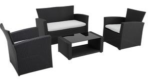 METRO Professional  4er Sofa-Garnitur Brandtford, PE-Rattan / Polyester