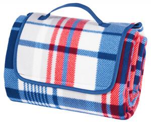 Camping- und Picknickdecke XXL, blau-rot-weiß gestreift