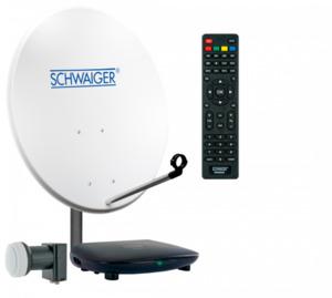 Schwaiger Satellitenanlage (ca. 72 cm + Twin LNB + Receiver)