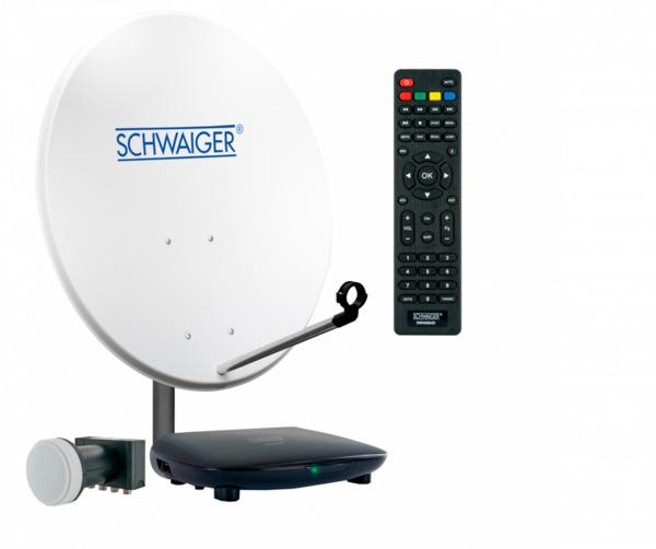 Schwaiger Satellitenanlage (ca. 72 cm + Quad LNB + Receiver)