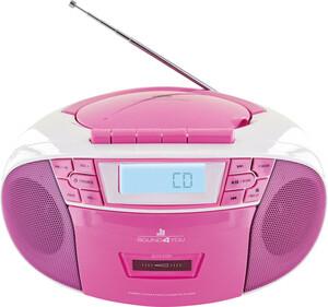 Schwaiger Tragbarer CD-Player mit Kassettendeck und FM Radio, pink