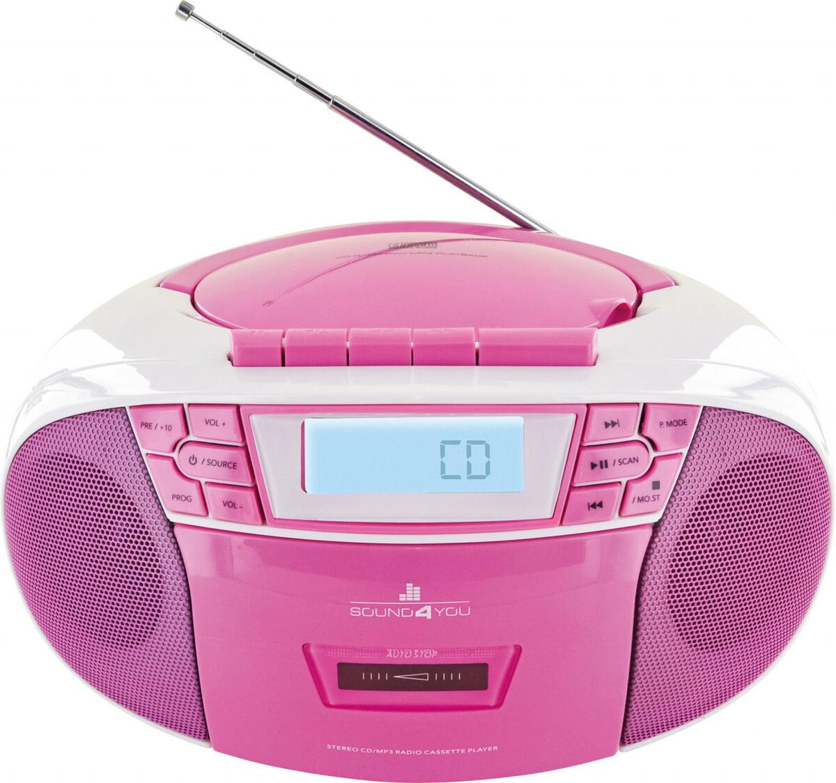 Bild 1 von Schwaiger Tragbarer CD-Player mit Kassettendeck und FM Radio, pink