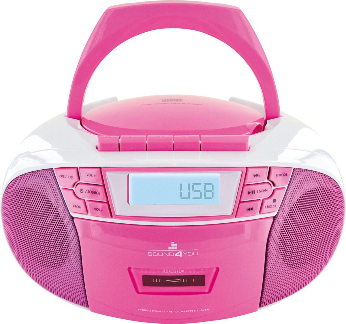 Bild 4 von Schwaiger Tragbarer CD-Player mit Kassettendeck und FM Radio, pink