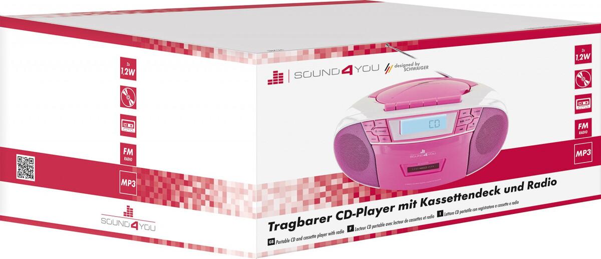 Bild 5 von Schwaiger Tragbarer CD-Player mit Kassettendeck und FM Radio, pink