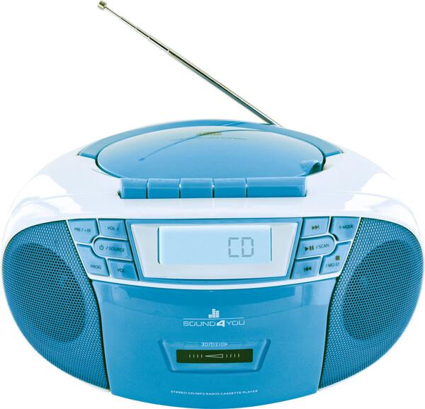 Schwaiger Tragbarer CD-Player mit Kassettendeck und FM Radio, blau
