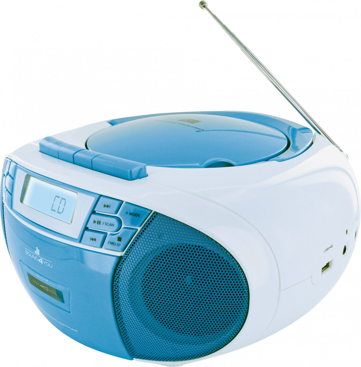 Bild 2 von Schwaiger Tragbarer CD-Player mit Kassettendeck und FM Radio, blau