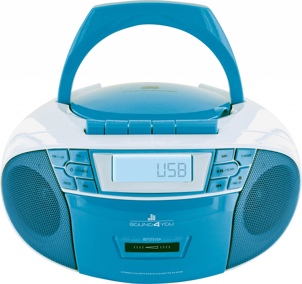 Bild 4 von Schwaiger Tragbarer CD-Player mit Kassettendeck und FM Radio, blau