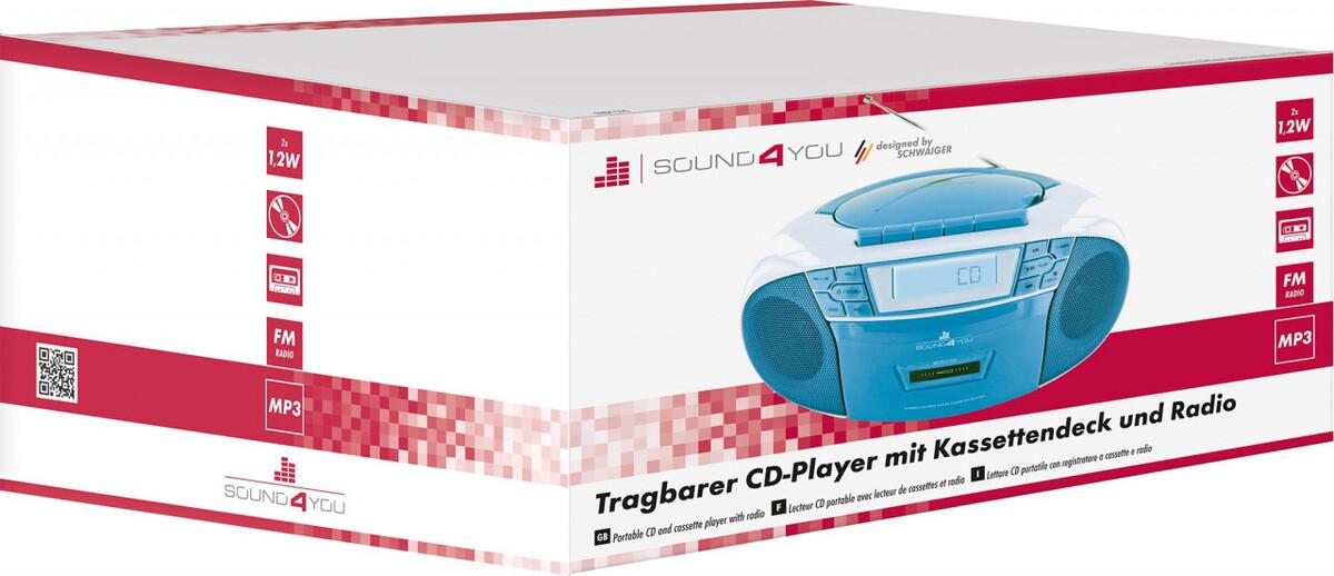 Bild 5 von Schwaiger Tragbarer CD-Player mit Kassettendeck und FM Radio, blau