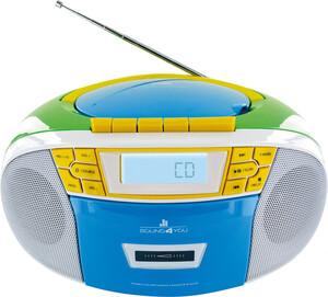 Schwaiger Tragbarer CD-Player mit Kassettendeck und FM Radio, bunt
