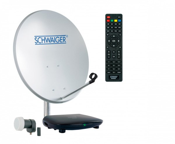 Schwaiger Satellitenanlage (ca. 55 cm + Single LNB + Receiver)
