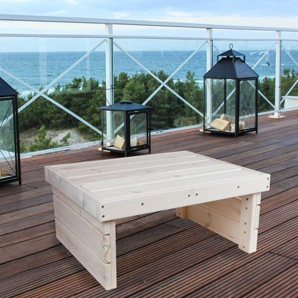 Holz-Gartentisch 70x32x59cm White-Washed