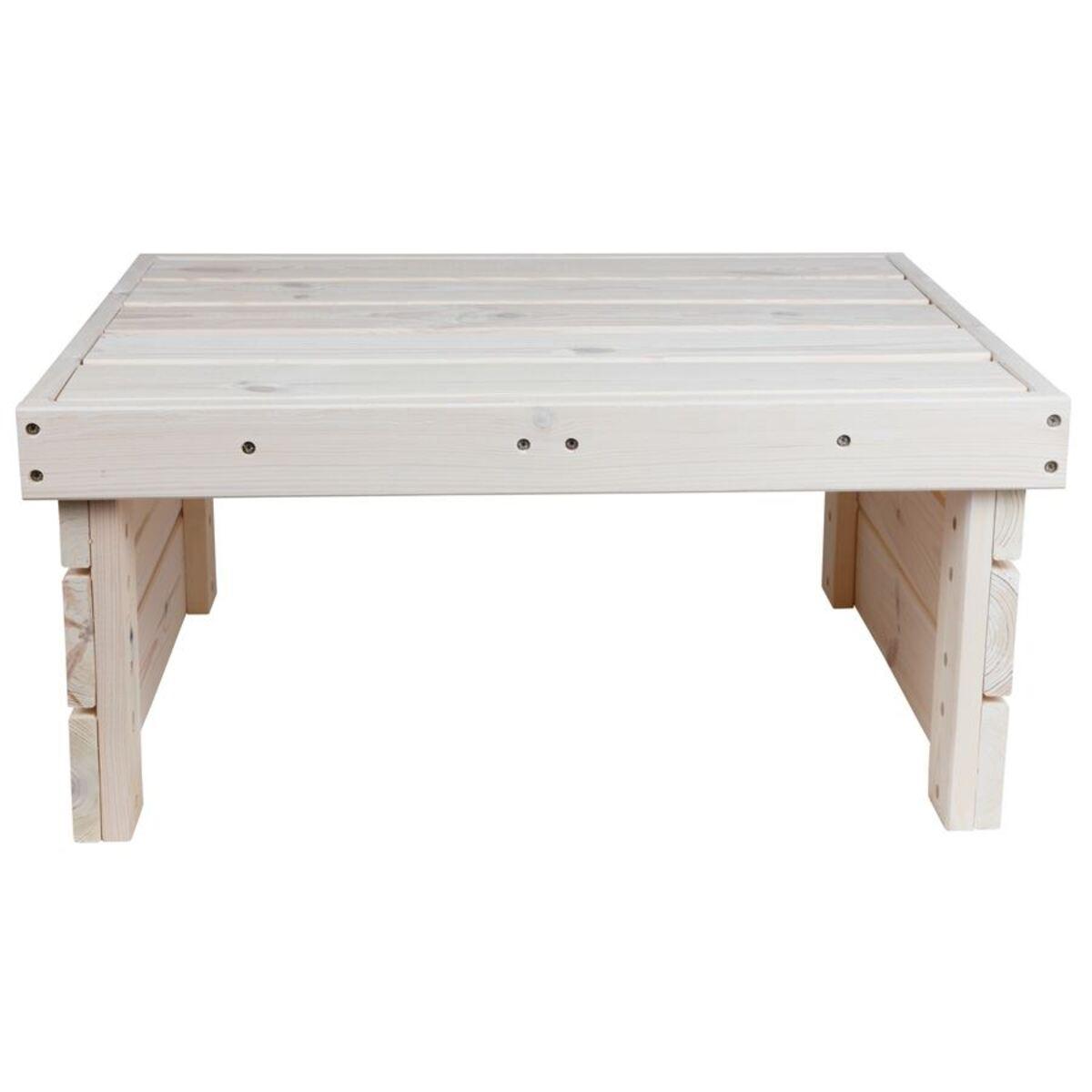 Bild 3 von Holz-Gartentisch 70x32x59cm White-Washed