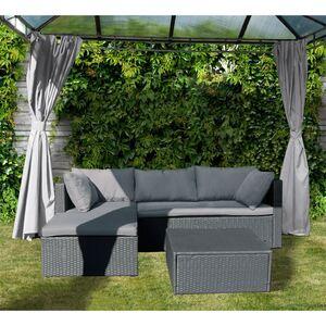 Lounge-Sitzecke mit Sitz- und Rückenpolstern Anthrazit