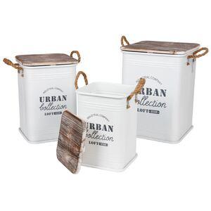 Metall-Sitztonnen Urban Collection 3-teilig Weiß
