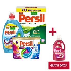 Beim Kauf von 2 x Persil Waschmittel Pulver/ Flüssig 70 Waschladungen oder Discs 52 Waschladungen, versch. Sorten, Packung/Flasche GRATIS DAZU 1x Perwoll 16/20/24 Waschladungen im Wert von 3,99 NEBE